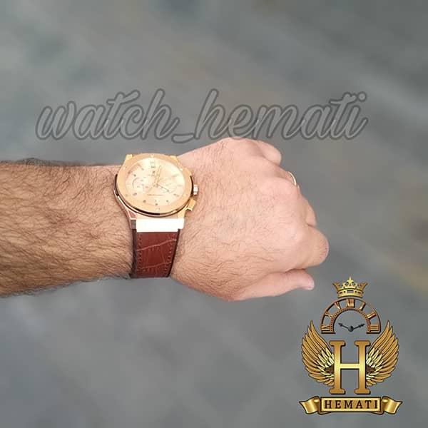 خرید ارزان ساعت مردانه هابلوت HU3M104 Big Bang سه موتوره قاب و صفحه و قفل رزگلد