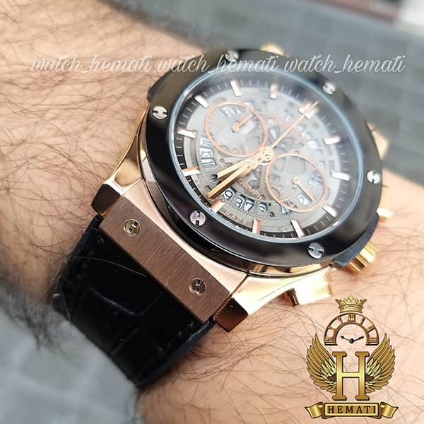 ساعت مردانه هابلوت مدل HU3AM203 سه موتوره صفحه اسکلتون با بند چرم مشکی
