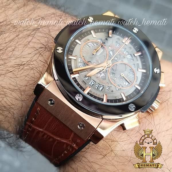 ساعت مردانه هابلوت مدل HU3AM203 سه موتوره صفحه اسکلتون با بند چرم قهوه ای