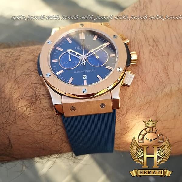 خرید ساعت هابلوت بیگ بنگ مدل HU3M108 قاب رزگلد با صفحه و بند سرمه ای