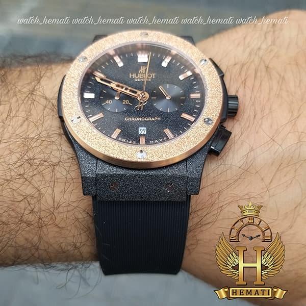 خرید اینترنتی ساعت مردانه هابلوت سه موتوره Hublot HU3M101 دورقاب شنی رزگلد