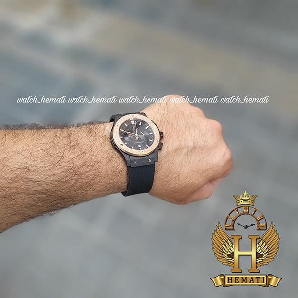 خرید ارزان ساعت مردانه هابلوت سه موتوره Hublot HU3M101 دورقاب شنی رزگلد