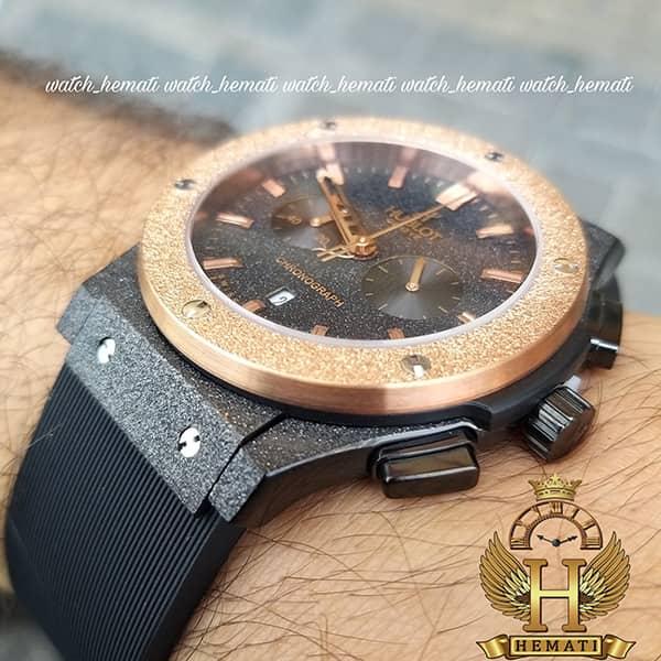 خرید ، قیمت ، مشخصات ساعت مردانه هابلوت سه موتوره Hublot HU3MM100 دورقاب شنی رزگلد