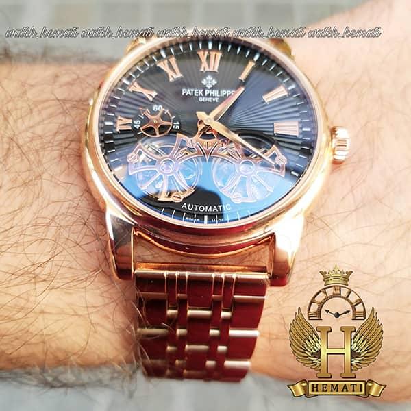 خرید انلاین ساعت مردانه پتک فیلیپ اتوماتیک Patek Philippe PF913 قاب و بند رزگلد دو توربو