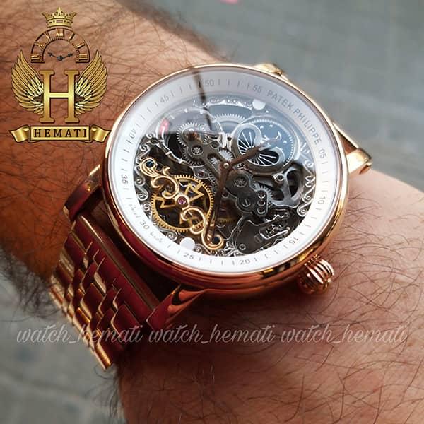 ساعت مردانه پتک فیلیپ اتوماتیک طرح سیبیل Patek Philippe PP5289 صفحه اسکلتون قاب و بند استیل رزگلد