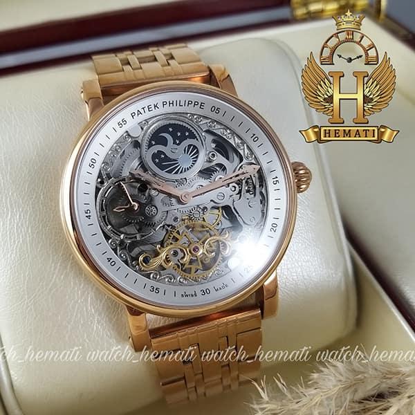 خرید ، قیمت ، مشخصات ساعت مردانه پتک فیلیپ اتوماتیک طرح سیبیل Patek Philippe PP5289 صفحه اسکلتون قاب و بند استیل رزگلد