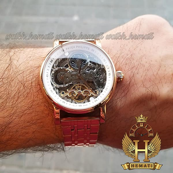 خرید ارزان ساعت مردانه پتک فیلیپ اتوماتیک طرح سیبیل Patek Philippe PP5289 صفحه اسکلتون قاب و بند استیل رزگلد