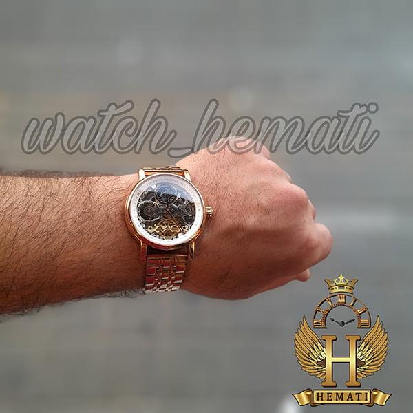 خرید اینترنتی ساعت مردانه پتک فیلیپ اتوماتیک طرح سیبیل Patek Philippe PP5289 صفحه اسکلتون قاب و بند استیل رزگلد