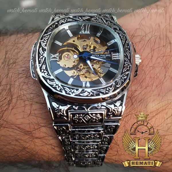 خرید ارزان ساعت مردانه پتک فیلیپ ناتیلوس Patek Philippe Nautilus PPN2579 قاب و بند حکاکی به رنگ نقره ای