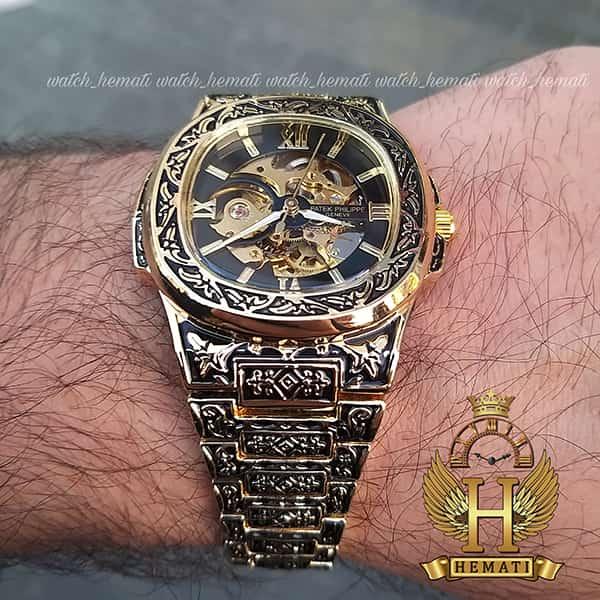 خرید ، قیمت ، مشخصات ساعت مردانه پتک فیلیپ ناتیلوس Patek Philippe Nautilus PPN2578 قاب و بند حکاکی به رنگ طلایی