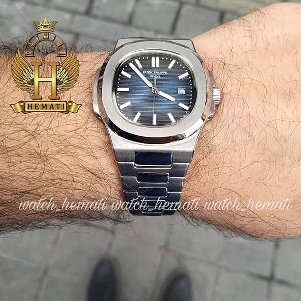 خرید ، قیمت ، مشخصات ساعت مردانه پتک فیلیپ ناتیلوس کوآرتز Patek Philippe Nautilus PPN1400 قتب و بند استیل نقره ای و صفحه سرمه ای