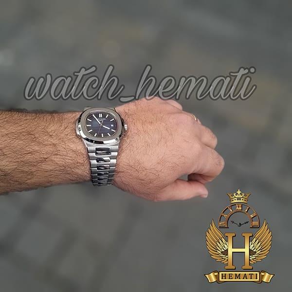 خرید ارزان ساعت مردانه پتک فیلیپ ناتیلوس کوآرتز Patek Philippe Nautilus PPN1400 قتب و بند استیل نقره ای و صفحه سرمه ای