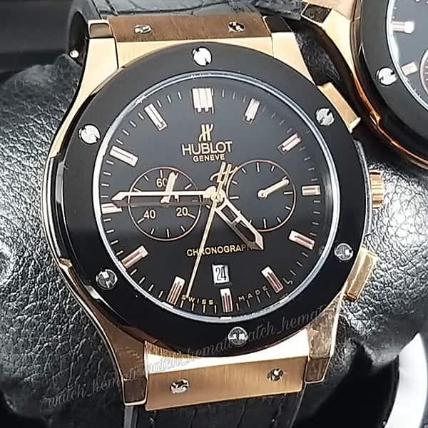 مشخصات ساعت ست هابلوت بیگ بنگ مدل HUS104 قاب مشکی بند رابر سه موتوره