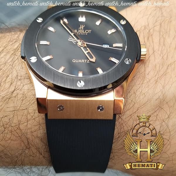خرید ، قیمت ، مشخصات ساعت مردانه هابلوت Big Bang HU1M100 تک موتوره قاب مشکی رزگلد