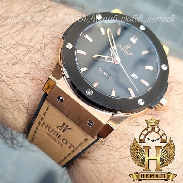 ساعت مردانه هابلوت Big Bang HU1M100 تک موتوره قاب مشکی رزگلد با بند جیر قهوه ای روشن