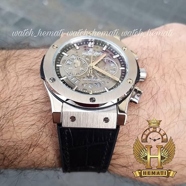 خرید ساعت مردانه هابلوت سه موتوره مدل Hublot HU3AM202 صفحه اسکلتون