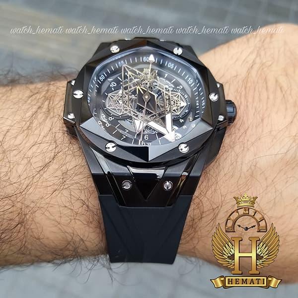 قیمت ساعت هابلوت مردانه بیگ بنگ مدل BB9990 قاب هندسی عقربه عنکبوتی رنگ مشکی