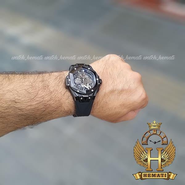 مشخصات ساعت هابلوت مردانه بیگ بنگ مدل BB9990 قاب هندسی عقربه عنکبوتی رنگ مشکی