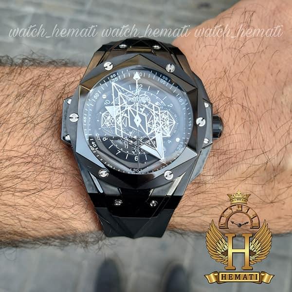 خرید انلاین ساعت هابلوت مردانه بیگ بنگ مدل BB9990 قاب هندسی عقربه عنکبوتی رنگ مشکی