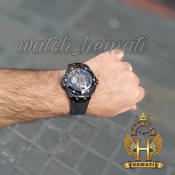 ساعت هابلوت مردانه بیگ بنگ مدل BB9990 قاب هندسی عقربه عنکبوتی رنگ مشکی