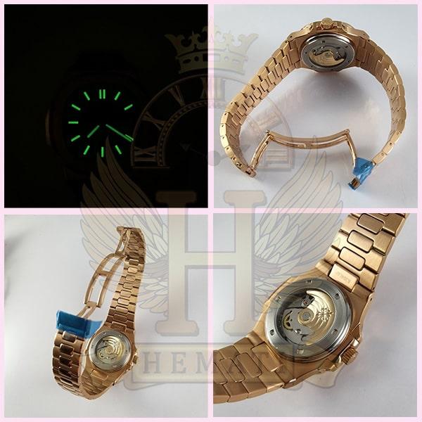 خرید انلاین ساعت مردانه پتک فیلیپ ناتیلوس Patek Philippe Nautilus اتوماتیک PPN384 قاب و بند استیل رزگلد