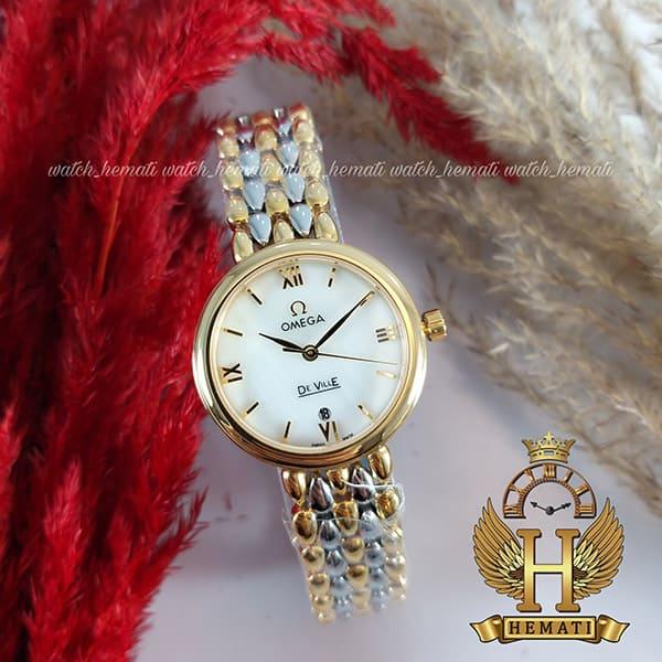 خرید ، قیمت ، مشخصات ساعت مچی زنانه امگا دویل نقره ای-رزگلد دورقاب ساده