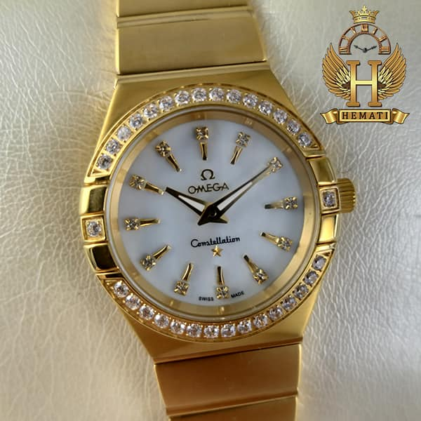 خرید ، قیمت ، مشخصات ساعت زنانه امگا کانسلیشن Omega Constellation طلایی دورقاب نگین دار موتور سوئیس