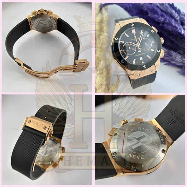 خرید ، قیمت ، مشخصات ساعت هابلوت زنانه مدل بیگ بنگ Big Bang BB9043 سه موتوره مشکی رزگلد