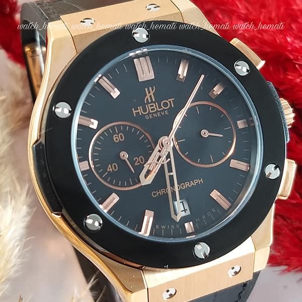 خرید ارزان ساعت هابلوت زنانه مدل بیگ بنگ Big Bang BB9043 سه موتوره مشکی رزگلد