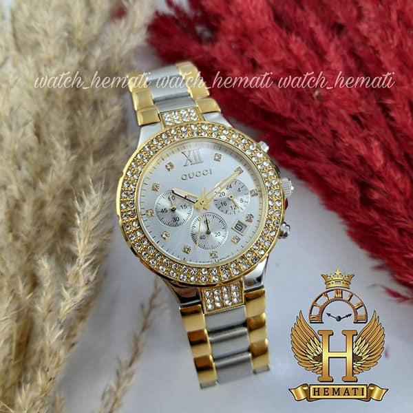 خرید ، قیمت ، مشخصات ساعت زنانه گوچی GUCCI 40190L نقره ای طلایی نگین دار