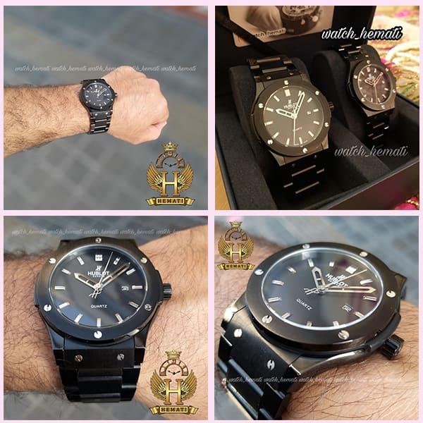 خرید ، قیمت ، مشخصات ساعت ست مردانه و زنانه هابلوت مدل BBH30 بند فلزی مشکی تک موتوره