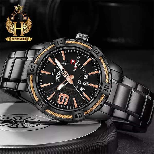 قیمت ساعت مردانه نیوی فورس مدل naviforce nf9117m مشکی رزگلد