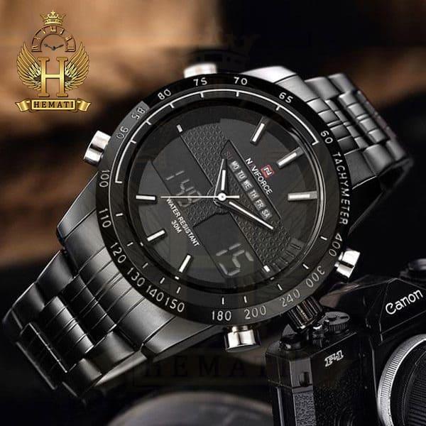 قیمت ساعت مردانه نیوی فورس مدل naviforce nf9024m مشکی ایندکس سفید