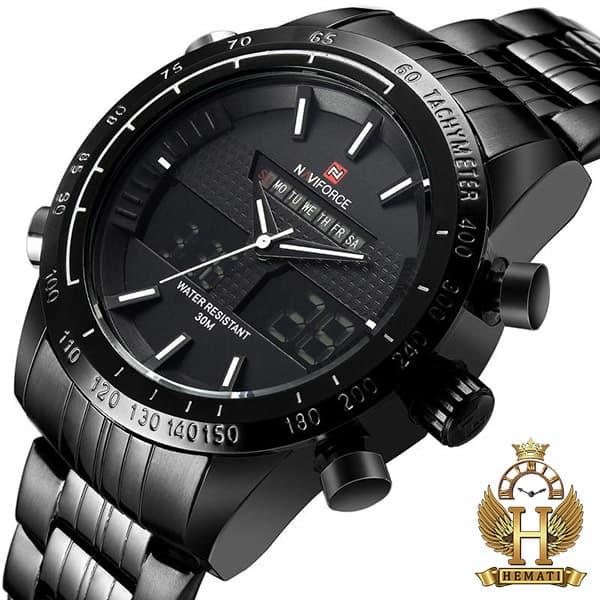 مشخصات ساعت مردانه نیوی فورس مدل naviforce nf9024m مشکی ایندکس سفید