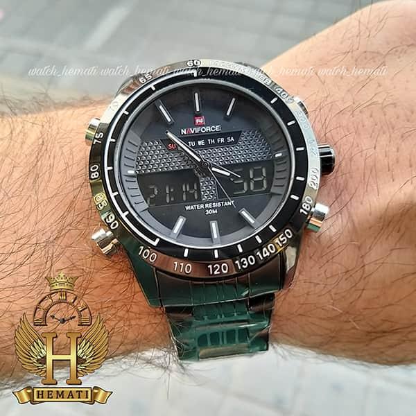 خرید انلاین ساعت مردانه نیوی فورس مدل naviforce nf9024m مشکی ایندکس سفید