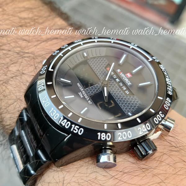 مشخصات ساعت مچی مردانه نیوی فورس مدل naviforce nf9024m مشکی ایندکس سفید