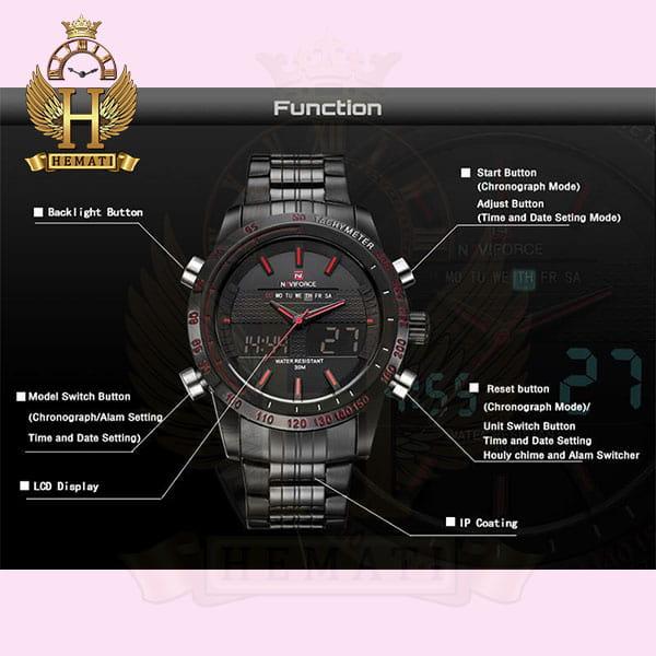 مشخصات ساعت مردانه نیوی فورس مدل naviforce nf9024m مشکی ایندکس قرمز