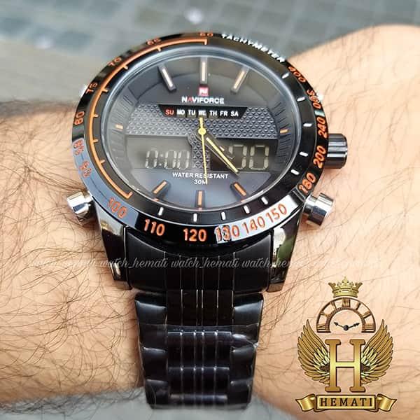 ساعت مردانه نیوی فورس مدل naviforce nf9024m مشکی ایندکس نارنجی