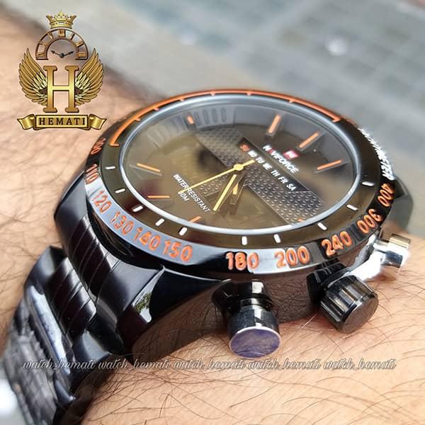 نمایندگی ساعت مردانه نیوی فورس مدل naviforce nf9024m مشکی ایندکس نارنجی
