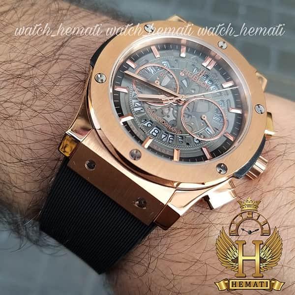 ساعت مردانه هابلوت مدل HU3AM201 سه موتوره صفحه اسکلتون با بند رابر ساده