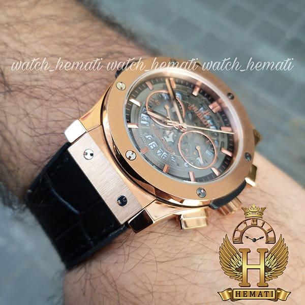 ساعت مردانه هابلوت مدل HU3AM201 سه موتوره صفحه اسکلتون با بند چرم مشکی