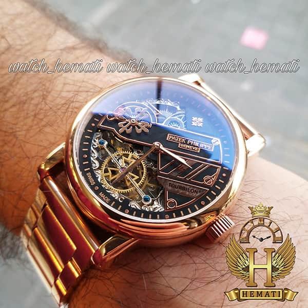 خرید ارزان ساعت مردانه پتک فیلیپ اتوماتیک Patek Philippe 30290 صفحه اسکلتون بند استیل تمام رزگلد