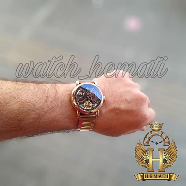 خرید اینترنتی ساعت مردانه پتک فیلیپ اتوماتیک Patek Philippe 30290 صفحه اسکلتون بند استیل تمام رزگلد