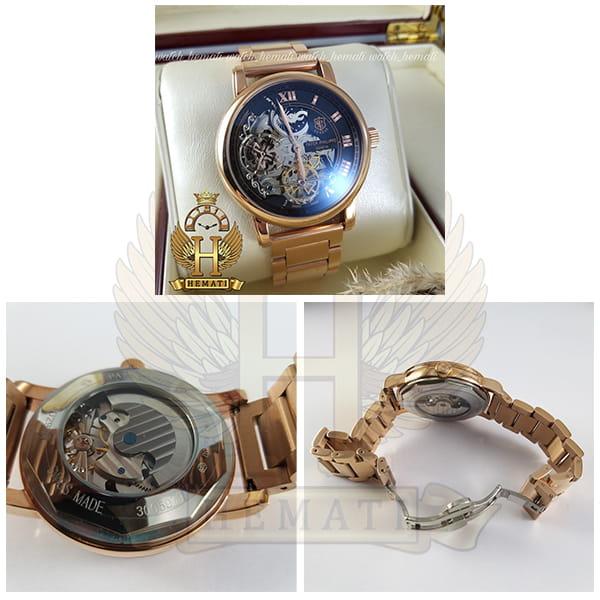خرید انلاین ساعت مردانه پتک فیلیپ اتوماتیک Patek Philippe 30290 صفحه اسکلتون بند استیل تمام رزگلد
