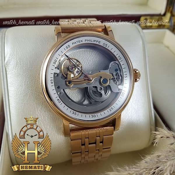 خرید ، قیمت ، مشخصات ساعت مردانه پتک فیلیپ اتوماتیک Patek Philippe PP2019 صفحه اسکلتون قاب و بند رزگلد