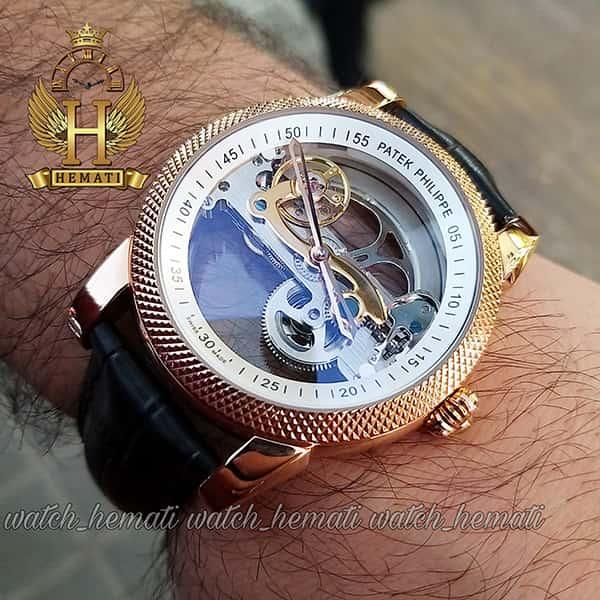 خرید ارزان ساعت پتک فیلیپ مردانه اتوماتیک Patek Philippe PG0999 صفحه اسکلتون بند چرم قهوه ای دور قاب تراش