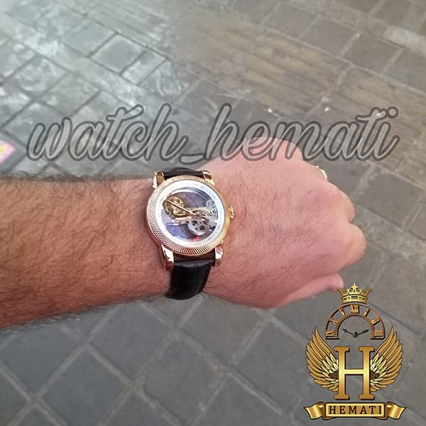 خرید اینترنتی ساعت پتک فیلیپ مردانه اتوماتیک Patek Philippe PG0999 صفحه اسکلتون بند چرم قهوه ای دور قاب تراش