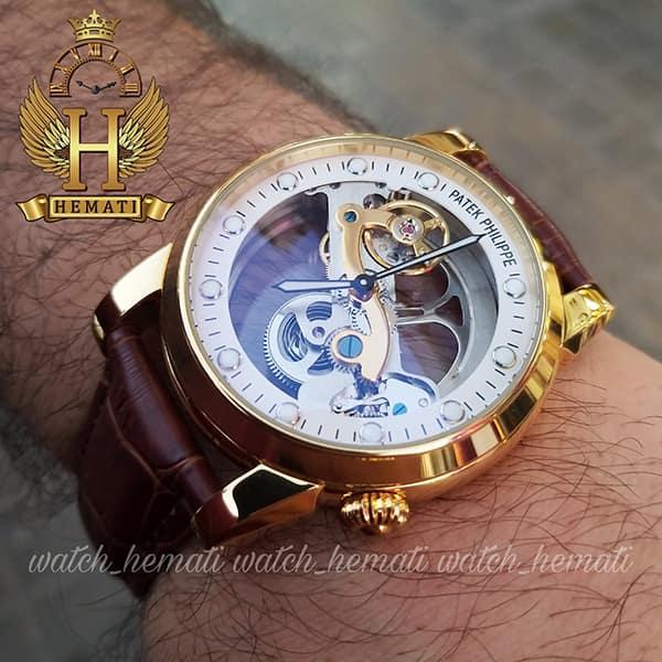 مشخصات ساعت مردانه پتک فیلیپ اتوماتیک Patek Philippe PY662 صفحه اسکلتون قاب طلایی با بند چرم قهوه ای