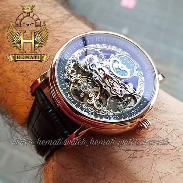 خرید ساعت مردانه پتک فیلیپ اتوماتیک مدل سیبیل بند چرم مشکی Patek Philippe VX145216 صفحه اسکلتون