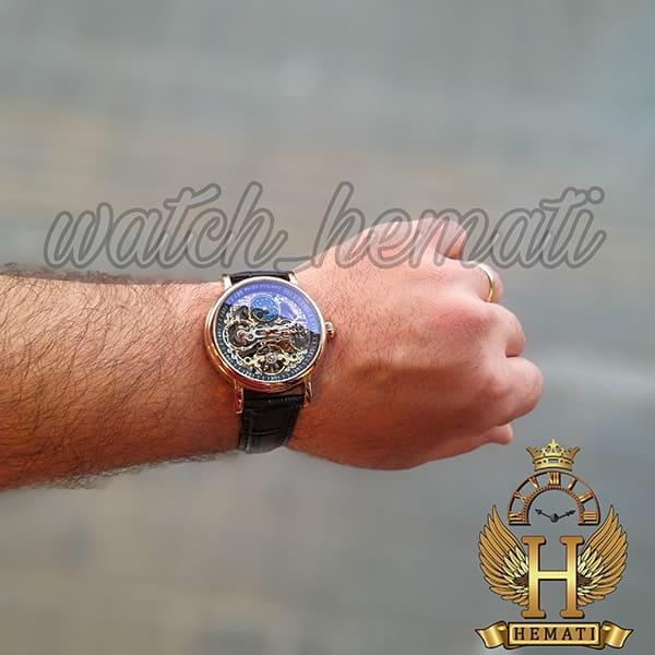 مشخصات ساعت مردانه پتک فیلیپ اتوماتیک مدل سیبیل بند چرم مشکی Patek Philippe VX145216 صفحه اسکلتون